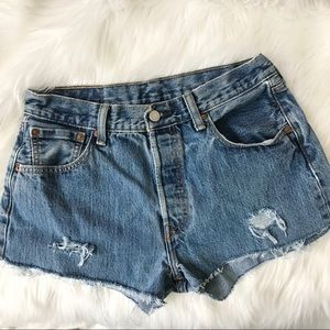 Levi's 501 Distressed Button Fly Denim Shorts